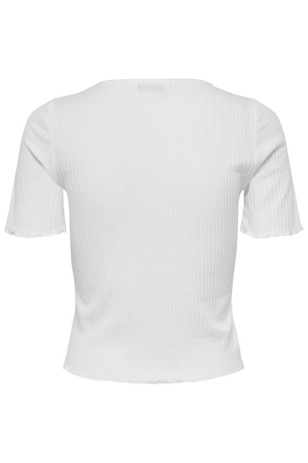 T-shirt court côtelé cintré bords volantés EMMA Only