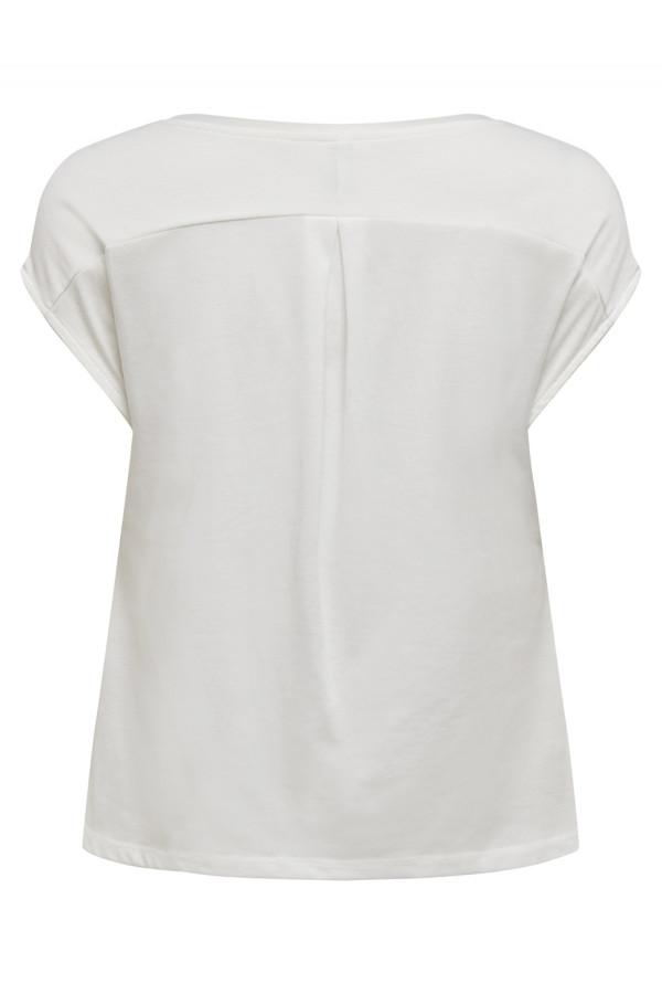 T-shirt uni bi-matière col V avec voile IVA Only