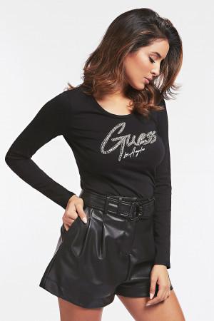 T-shirt uni cintré en coton imprimé strass devant Guess