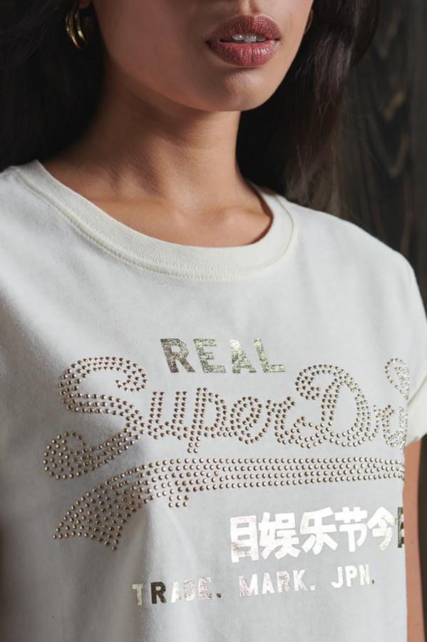 T-shirt basique uni avec impression devant Superdry