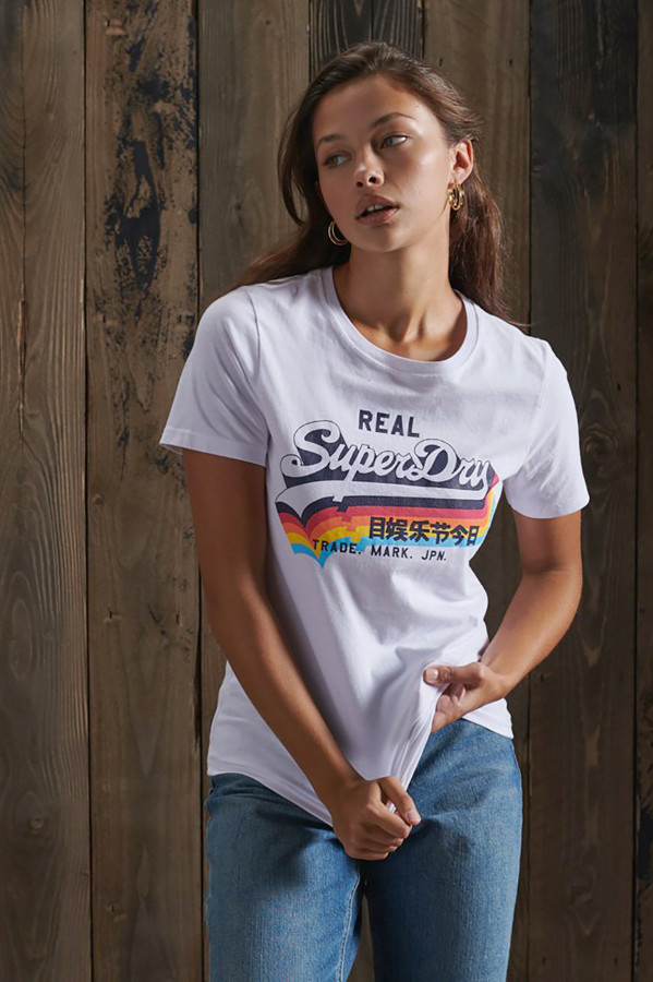 T-shirt uni avec impression sur le devant en coton Superdry