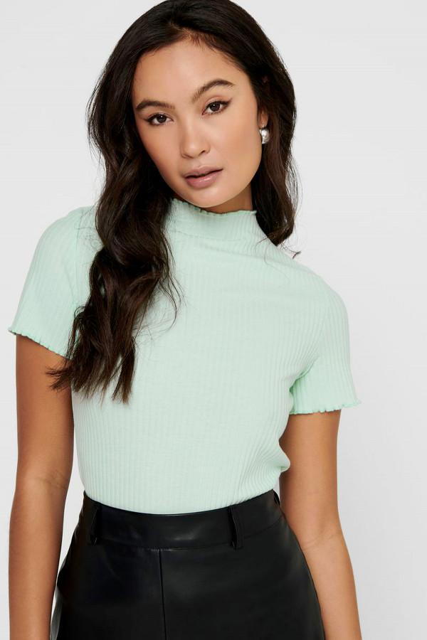 T-shirt uni côtelé col montant bords avec volants EMMA Only
