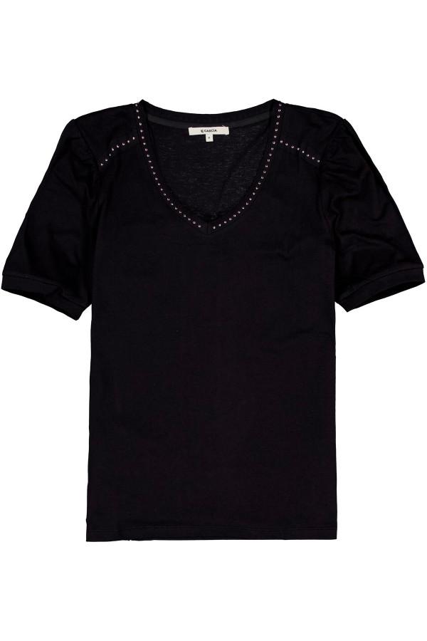 T-shirt uni manches courtes col V avec clous Garcia