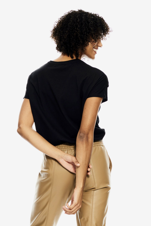 T-shirt uni avec franges et biais contrastant Garcia