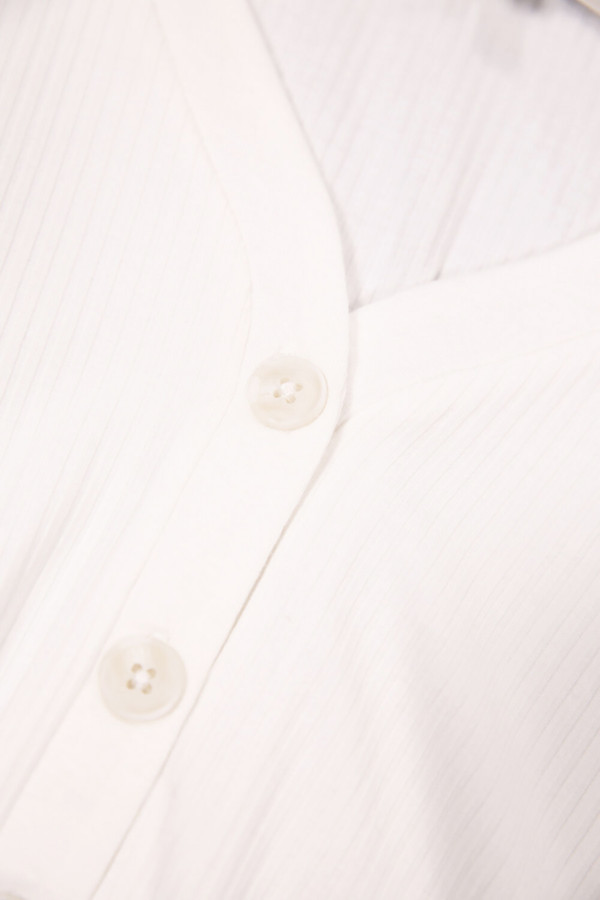 T-shirt uni côtelé manches 1/2 col V Garcia