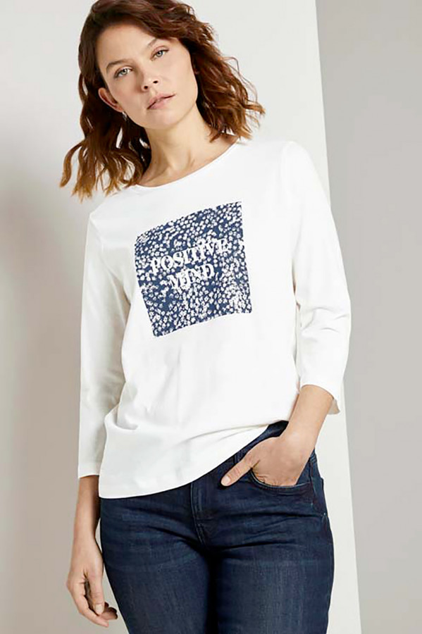 T-shirt uni avec impression sur le devant en coton Tom Tailor