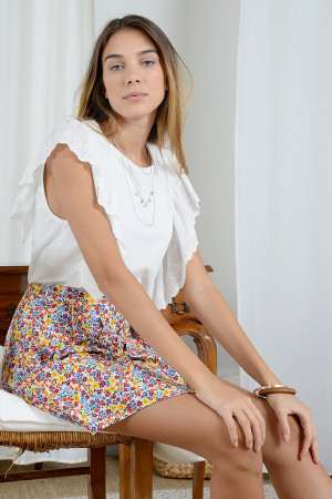 T-shirt uni en coton avec volants en broderie anglaise Molly Bracken