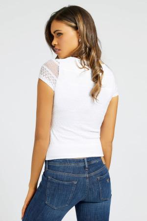 T-shirt uni en dentelle manches courtes Guess