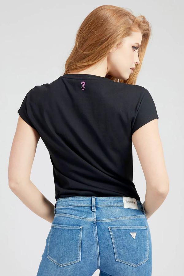 T-shirt uni avec strass sur le devant en coton Guess