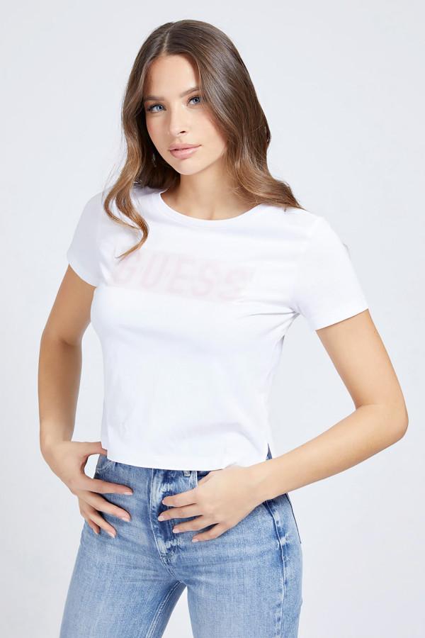 T-shirt court avec logo devant en coton Guess