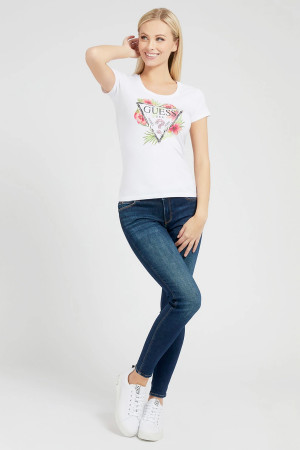 T-shirt avec impression et strass devant en coton stretch Guess
