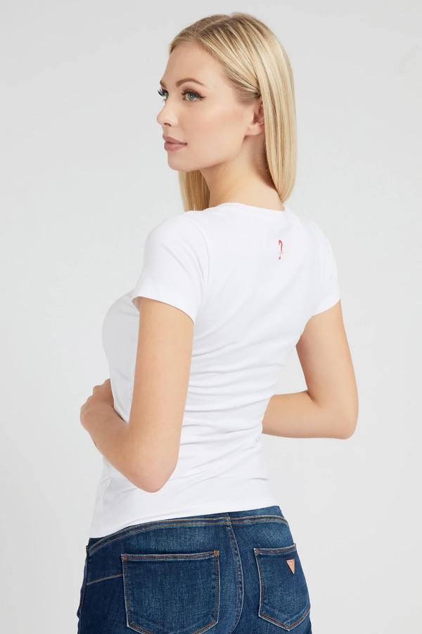 T-shirt avec impression et strass devant en coton stretch Guess