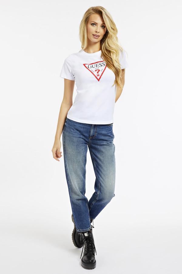 T-shirt uni avec impression devant en coton Guess