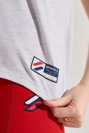 T-shirt chiné avec logo brodé devant modèle court Superdry