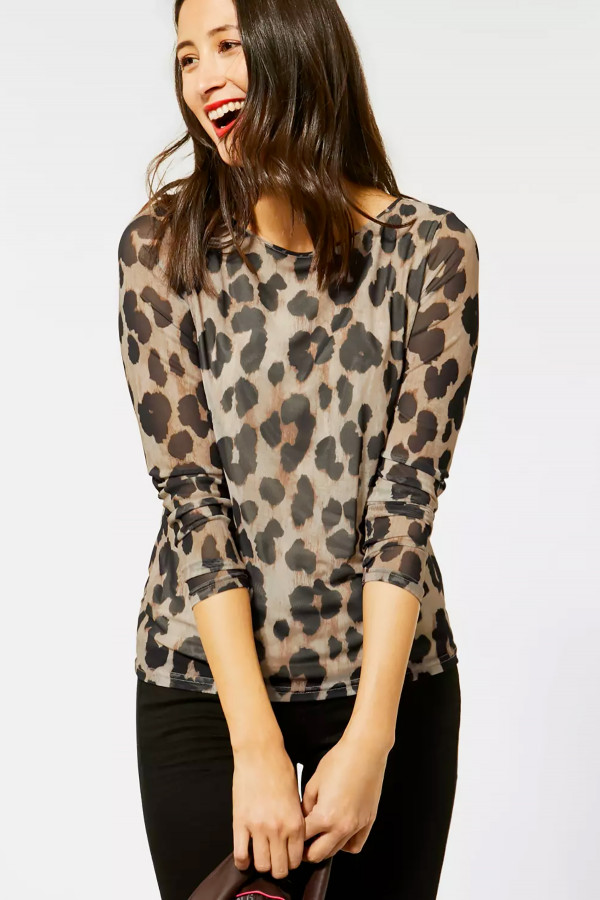 T-shirt manches longues en résille imprimé léopard Street One