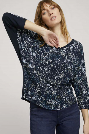 T-shirt fleuri bi-matière manches 3/4 Tom Tailor