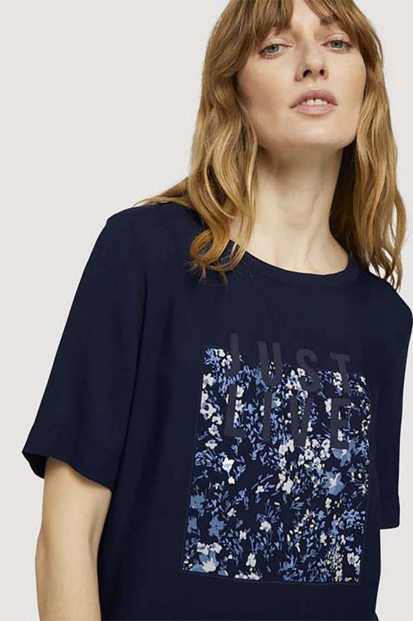 T-shirt uni avec impression en matière naturelle Tom Tailor