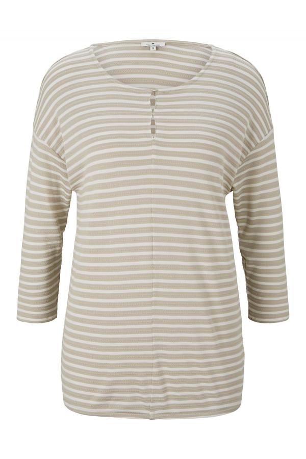 T-shirt imprimé rayé structuré manches 3/4 base élastiquée Tom Tailor