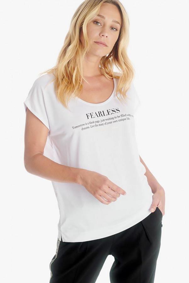 T-shirt bi-matière avec inscriptions devant Le Temps des Cerises