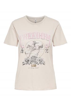 T-shirt manches courtes imprimé à l'avant en coton LUCY Only