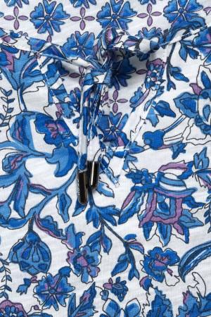 T-shirt imprimé fleuri avec cordon à nouer au col Cecil