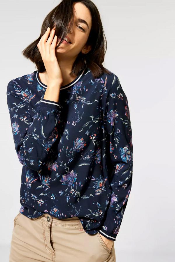 T-shirt bi-matière imprimé fleuri avec bords contrastants Cecil