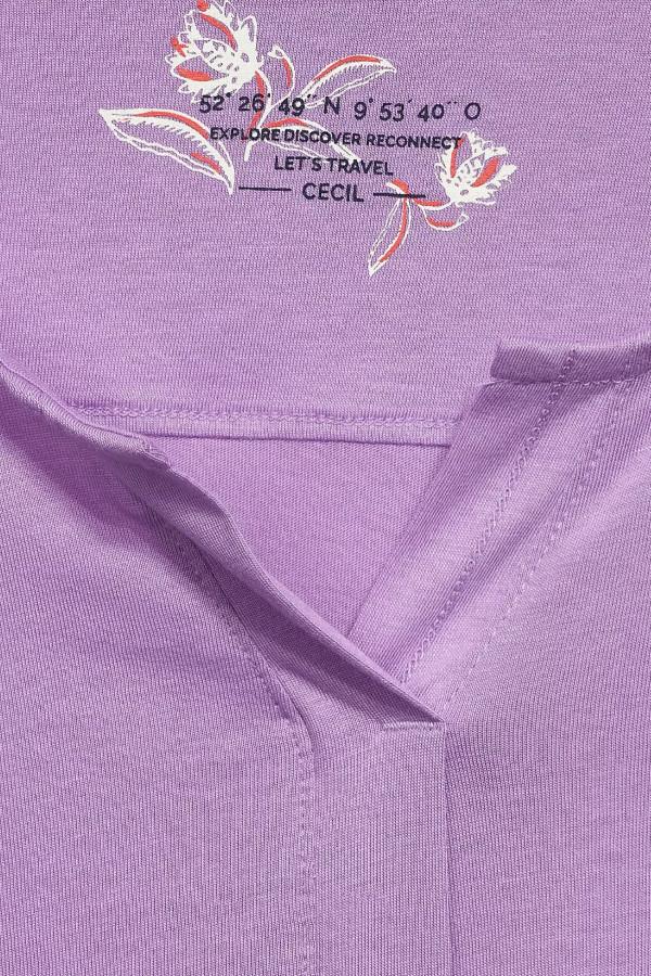T-shirt uni avec base élastiquée manches longues Cecil