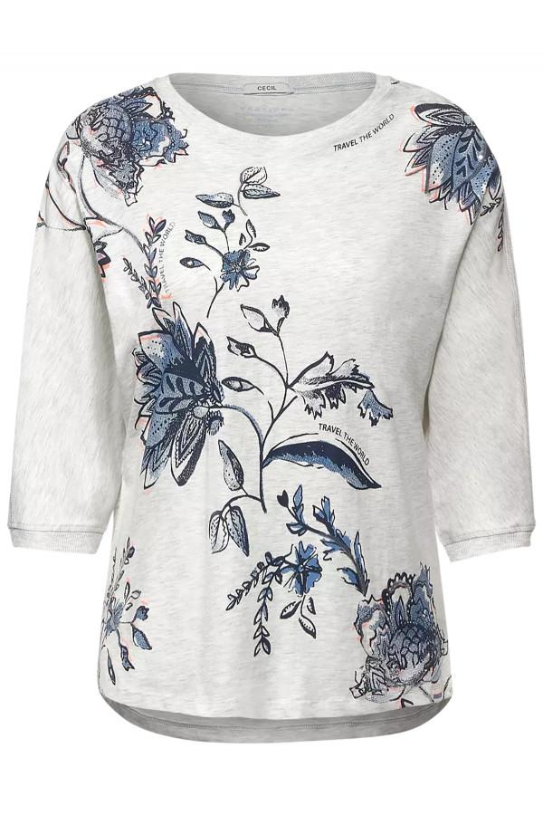 T-shirt loose manches 3/4 imprimé fleuri et sequins Cecil