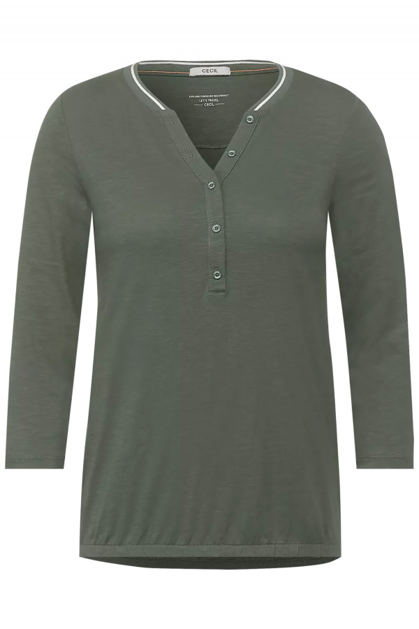 T-shirt uni avec boutons manches 3/4 en coton Cecil