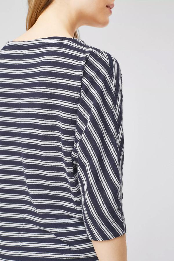 T-shirt loose rayé manches 3/4 col dégagé S.Oliver