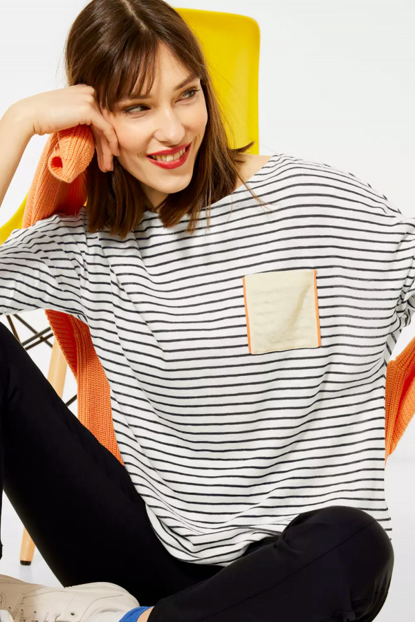 T-shirt manches 3/4 imprimé rayé Street One