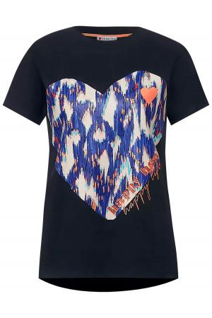 T-shirt en coton avec cœur imprimé devant Street One
