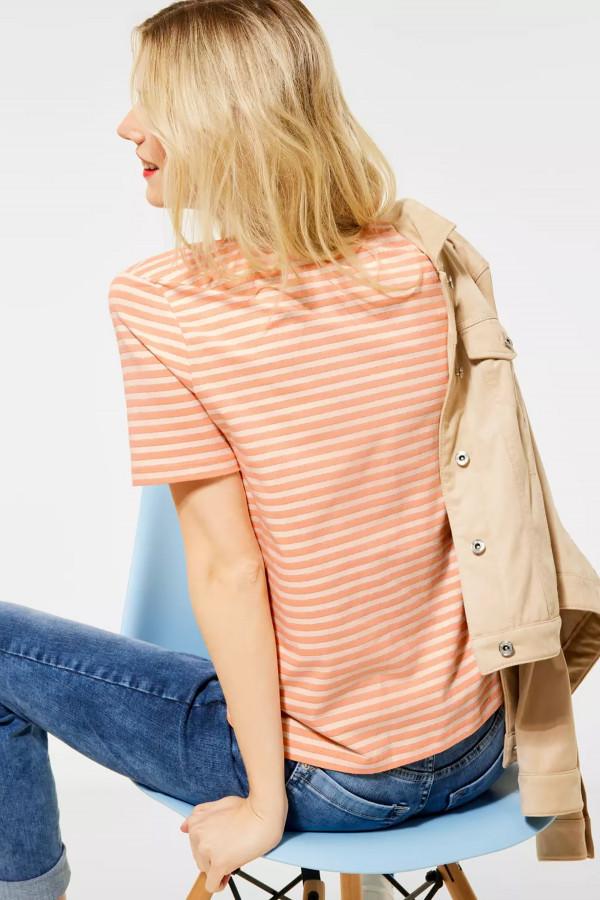 T-shirt rayé avec lurex col V en coton stretch Street One