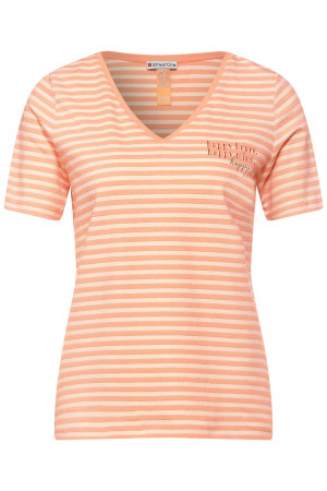 T-shirt rayé avec lurex col V en coton stretch Street One