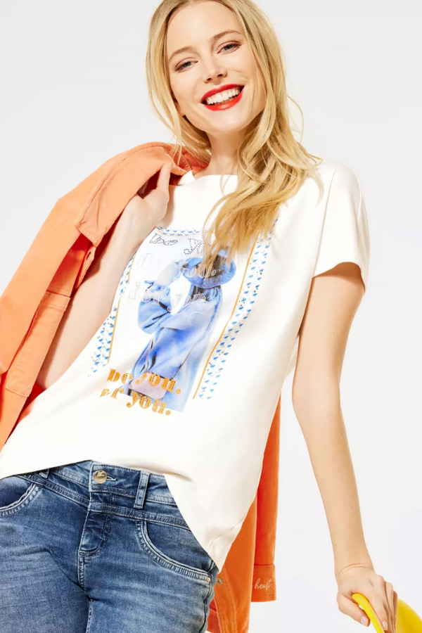 T-shirt en coton avec impression et strass devant Street One