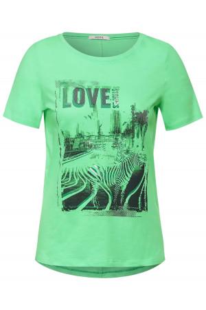 T-shirt uni avec impression et lurex devant en coton Cecil