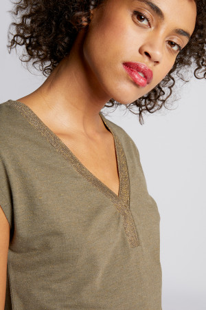 T-shirt chiné avec lurex col V emmanchure tombante DMAYA Morgan
