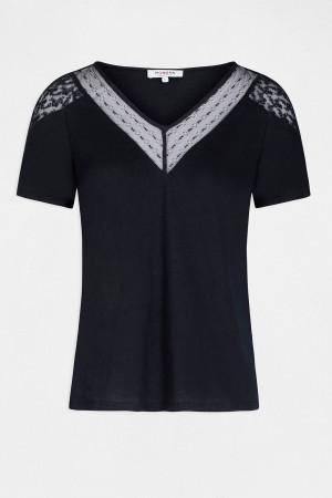 T-shirt flammé dentelle aux épaules et au col DLINOU Morgan