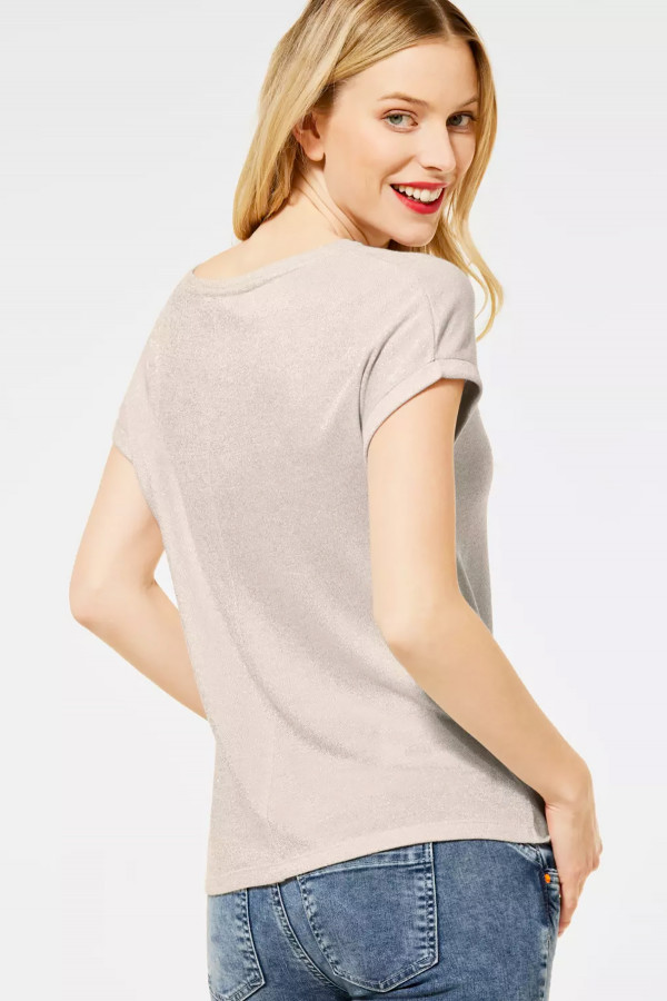 T-shirt uni avec lurex drapé à l'avant Street One