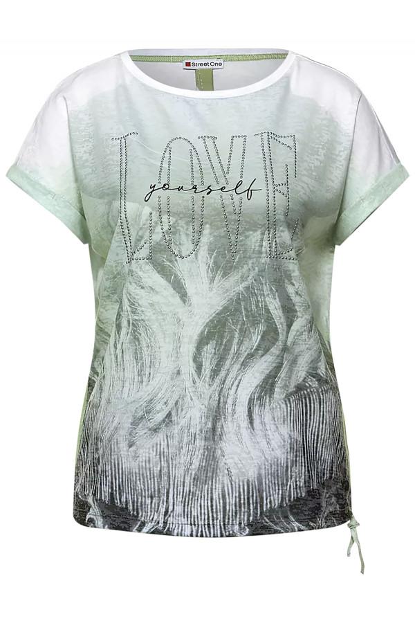 T-shirt avec impression devant et liens à nouer sur le côté Street One