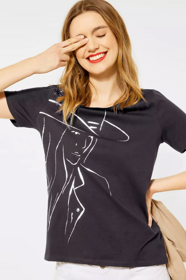T-shirt uni avec impression devant en coton Street One