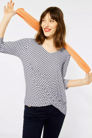 T-shirt drapé imprimé minimaliste manches 3/4 Street One