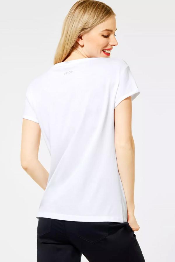 T-shirt uni avec impression et strass devant Street One