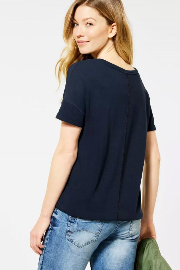 T-shirt bi-matière imprimé devant avec base rayée Cecil