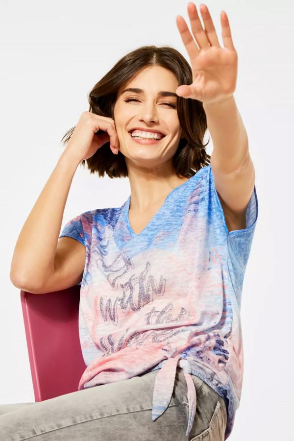 T-shirt imprimé avec strass devant manches courtes Cecil