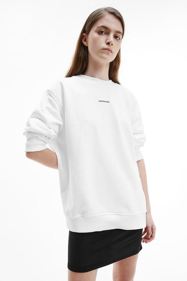 Sweat uni avec impression sur le devant en coton Calvin Klein