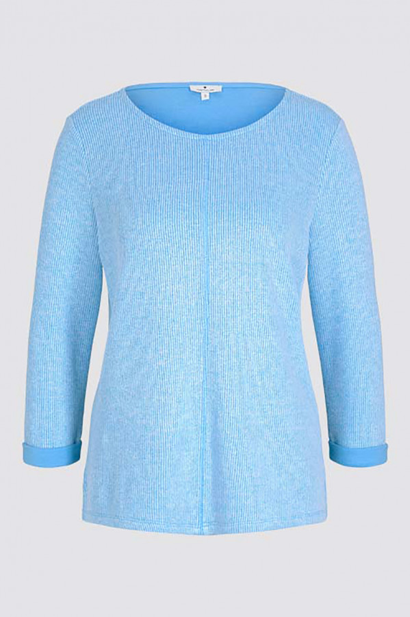 Pull chiné en maille manches 3/4 Tom Tailor