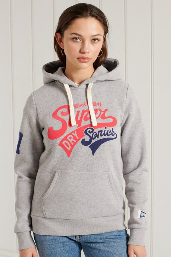 Sweat chiné à capuche avec logo et poche devant Superdry
