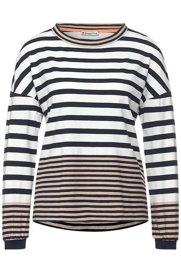 T-shirt tricolore rayé manches longues Street One