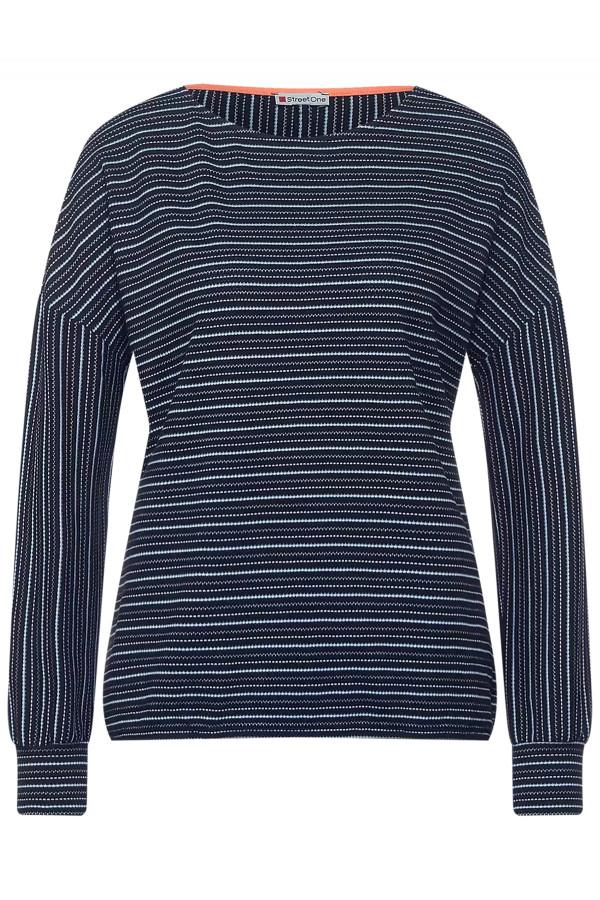 T-shirt rayé longues manches en coton matière structurée Street One